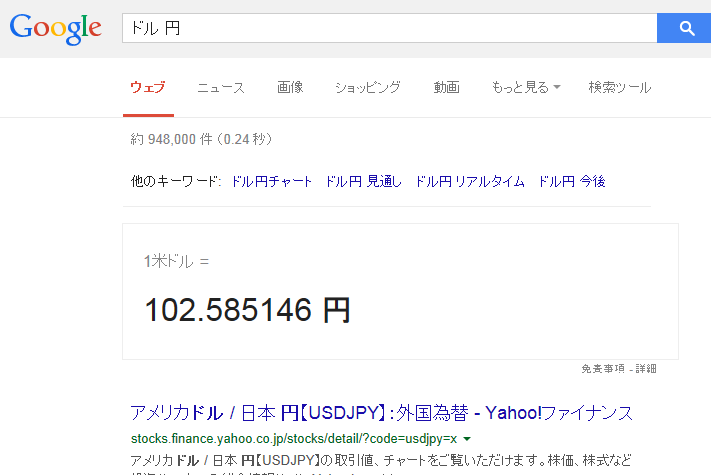 Googleで現在のドルの相場を知る